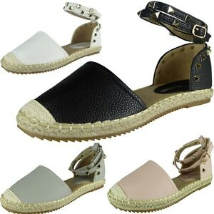 New-Womens-Ladies-Ankle-Strap-Studded-Espadrilles-Shoes-Sandals-Flats-Size