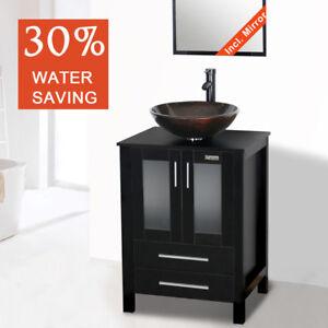24 Modern Black Bathroom Vanity Bowl Sink Mirror Faucet Drain