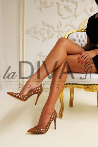 Gold Brown Pumps ~ Laser pelle ~ ~ Cut business ~ ~ 38 Napoleoni Cognac Italy Vera xYqEw7IP