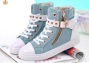 Hot-Women-Casual-Sneakers-Rivets-Buckle-Zipper-Walking-Sport-Canvas-Shoes