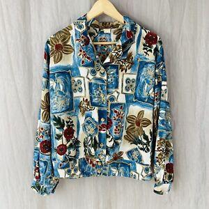 *VINTAGE* Blue Multi Floral Retro Abstract Art SIZE 16 UK Long Sleeve Blouse V1