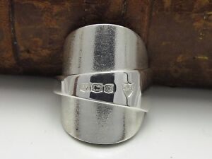 BEAUTIFUL-CHUNKY-TEXTURED-SOLID-STERLING-SILVER-SPOON-RING-SIZE-S