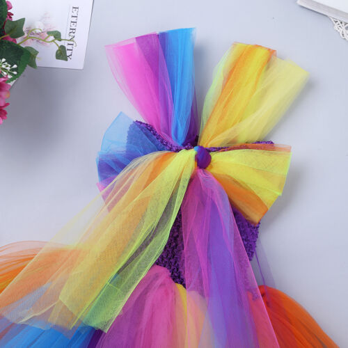 Kids Rainbow Flowers Tutu Dress Toddler Girls Cosplay Outfit Party Fancy Costume