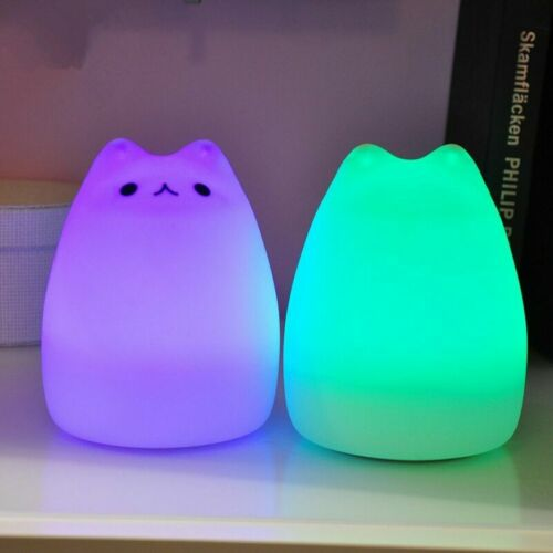Rechargeable  Night Light Lamp  Silicone Cat 7 Color Change Kids Room ew US