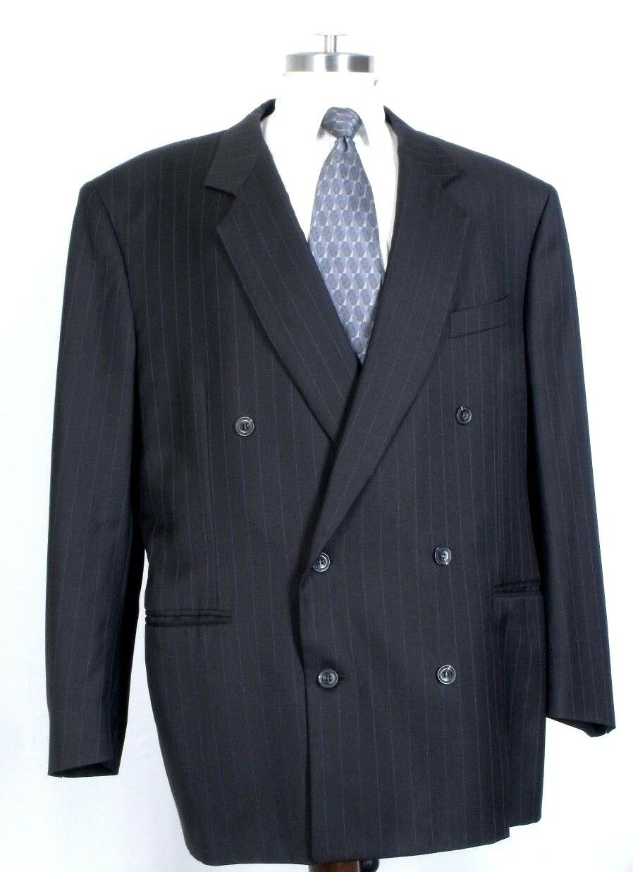 Mens 46 CANALI Fratelli Tallia Di DelFino Double Breasted Brown Pinstripe Blazer