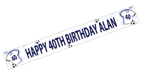 PERSONALISED BANNERS NAME AGE PHOTO BIRTHDAY FOOTBALL 49th 50th 51st white K3