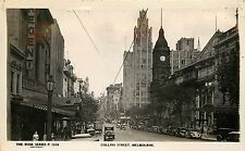 Real Photo Postcard Rose Series Collins Street Melbourne Victoria Unposted 1930s