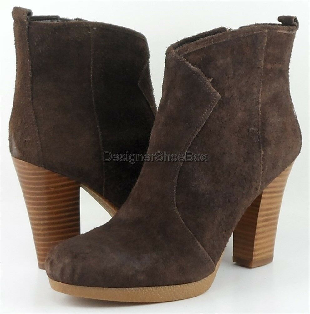 149 ENZO ANGIOLINI ALESSI Braun Suede Designer Stacked Heel Stiefel Ankle Stiefel Heel 8 a22e2c