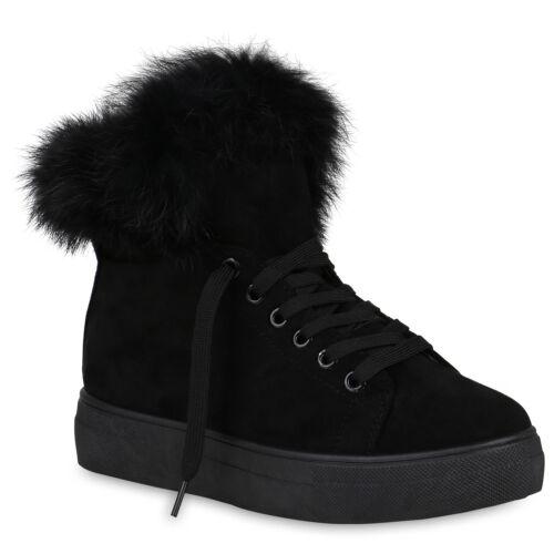 Warm Gefütterte Damen Sneakers Plateau Sneaker Winter Schuhe 819191 Trendy