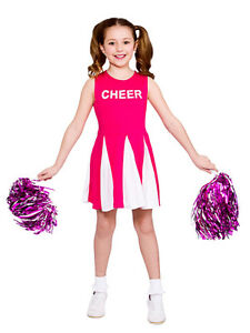 Image is loading Girls-Cheerleader-Costume-Hot-Pink-Child-Fancy-Dress-  sc 1 st  eBay & Girls Cheerleader Costume Hot Pink Child Fancy Dress Kids High ...