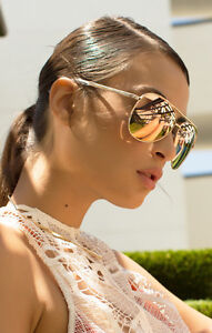 b18660a33a Image is loading NEW-QUAY-Vivienne-Gold-Rose-Mirror-Sunglasses