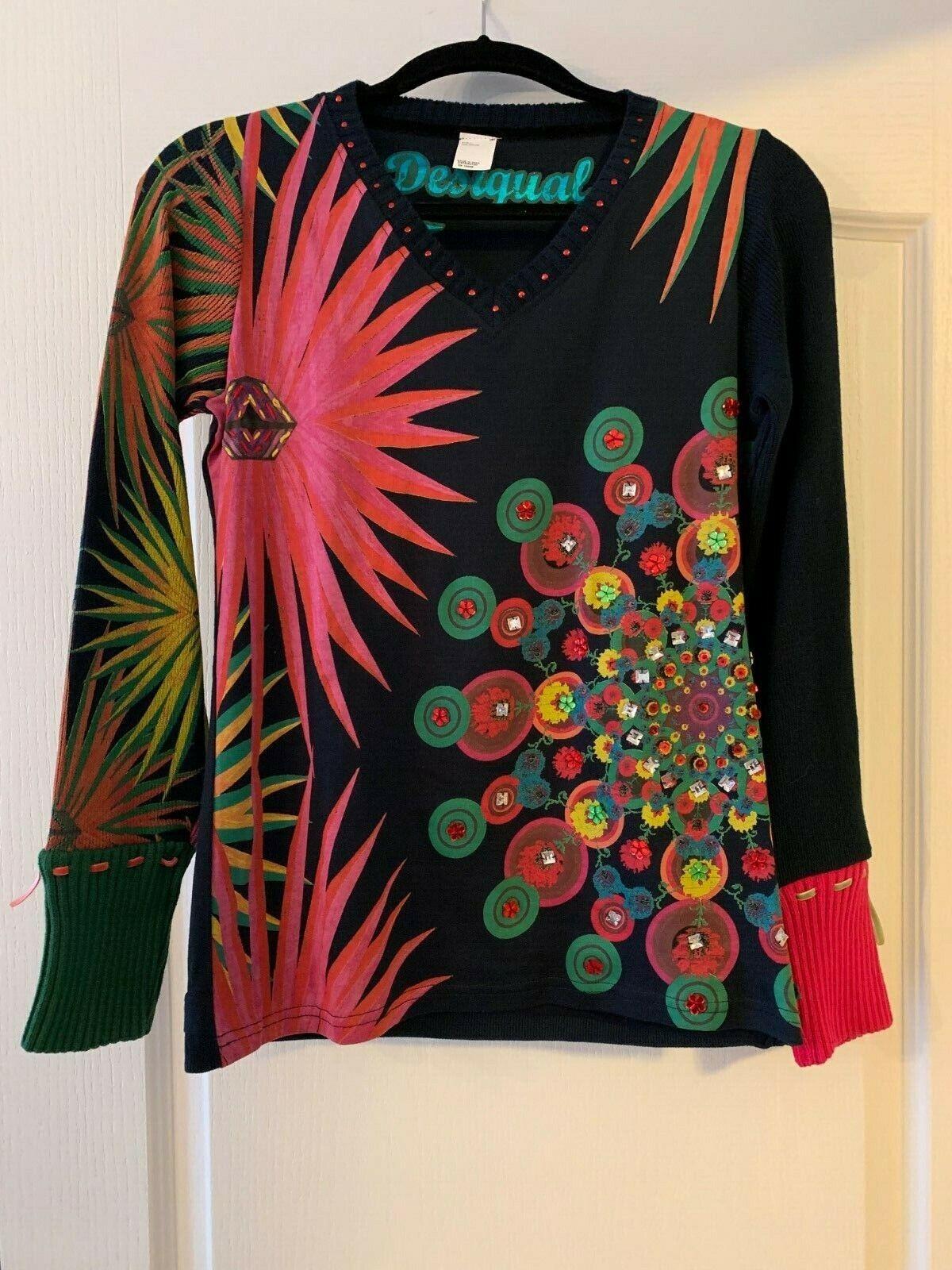 Desigual Beautiful Navy & Bright Floral Sweater w  Rhinestones Size M
