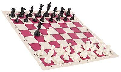 "New Regulation Black /& White Chess Pieces /& 20/"" Black Vinyl Board Single Weight"