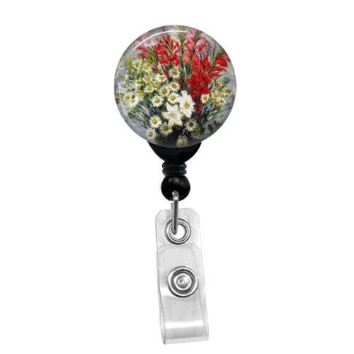 Claude Monet Gladiolas Nurse Badge Reel Personalized Custom ID Name Holder