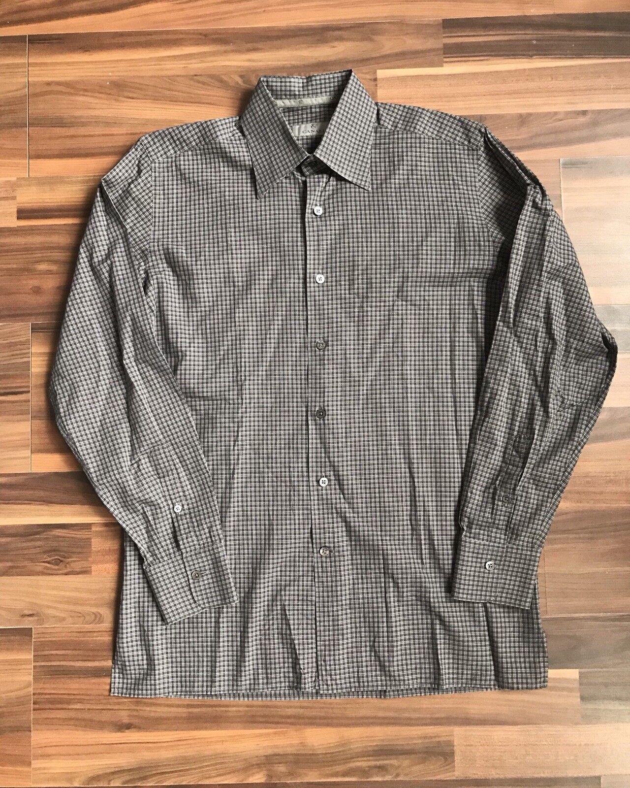 Canali Grey Brown Plaid Button Down Dress Shirt Sz M