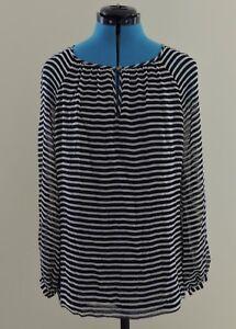 063e2ee5440 TORY BURCH 100% SILK Sz 6 Black Cream Striped Semi Sheer Long Sleeve ...