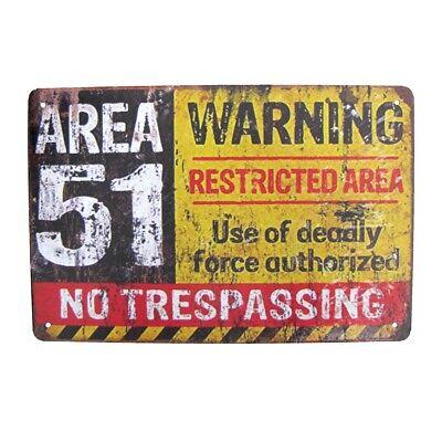 Area 51 Warn No Trespassing Metal Sign Tin Garage Man Cave Military Wall Decor