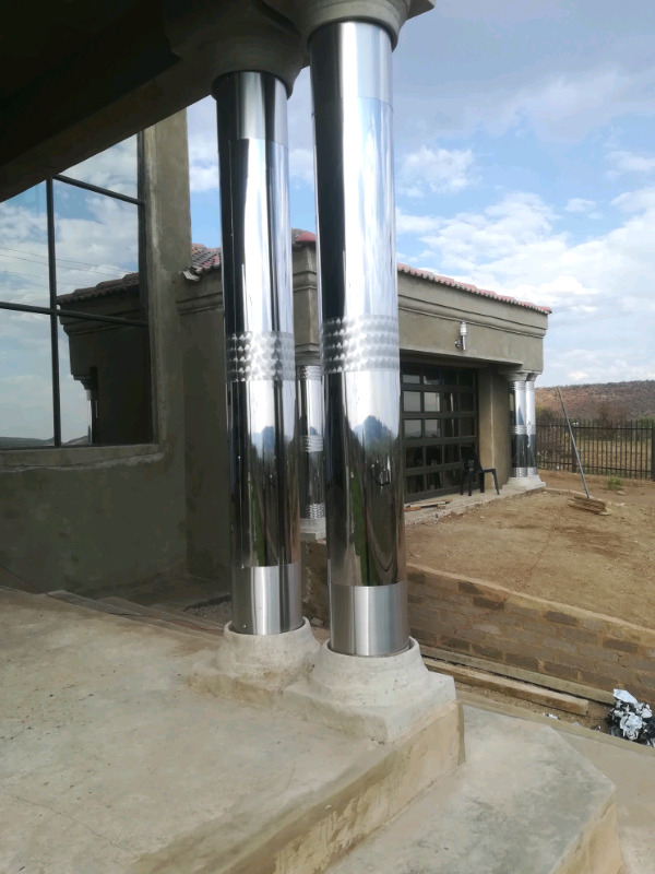 Pillars cover stainless steel, Gutters stainless steel