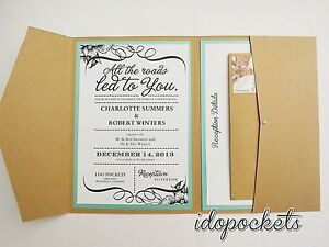 Image Is Loading Kraft Wedding Invitations Diy Pocketfold Envelopes Box Vintage