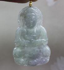 "G18K Certified ""A"" Natural Icy Lavender Green Jadeite Jade Kwan-yin Pendant #699"