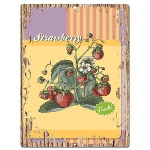 PP0548-Strawberry-Plate-Chic-Sign-Bar-Store-Shop-Cafe-Restaurant-Kitchen-Decor