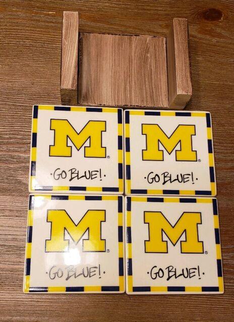 Michigan State University Go Blue Ceramic 4 Piece Coaster Set By Magnolia Lane Ebay