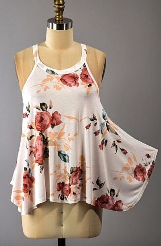 PINK BLUSH MAUVE FLORAL HIGH NECK RACERBACK TUNIC FLOWER TANK TOP SHIRT S M L