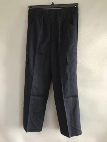 BNWT Boys Sz 12 Navy Blue Elastic Waist Cargo Side Pocket School Pants Trousers