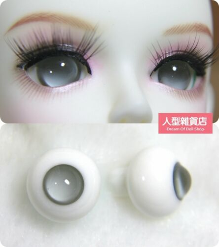 16mm Glass Eyes For 1//3 1//4 1//6 BJD Doll with Handled Sphericity A Pair of Grey