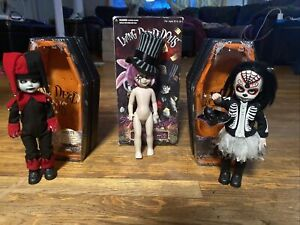 Living-Dead-Dolls-Lot-Of-3-Jingles-And-Calavera-And-Very-Used-Mad-Hatter