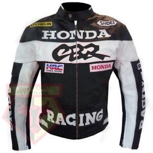 HONDA-CBR-BLACK-MOTORBIKE-MOTORCYCLE-BIKERS-COWHIDE-LEATHER-ARMOURED-JACKET