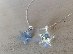 925-Sterling-Silver-Necklace-Swarovski-Elements-Crystal-Star-Pendant-Clear-AB