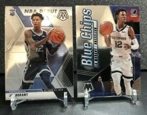 Lot-2-2019-20-Mosaic-Ja-Morant-Rookie-RC-Inserts-Blue-Chips-Grizzlies