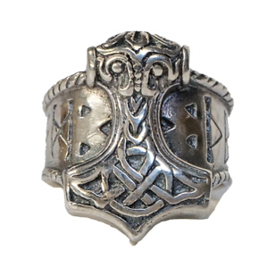 Thor/'s Hammer Thor Viking Mjolnir De Plata Anillo De Runas ODIN Norse Metal feeanddave