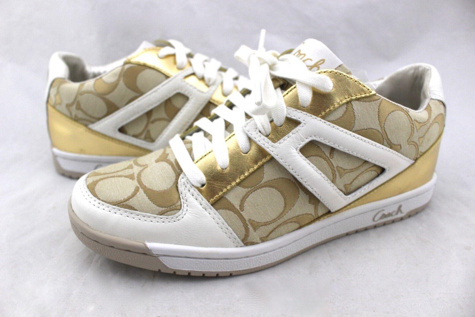 COACH Nova Gold White Heart Signature Jacquard Canvas Leather Sneakers 8
