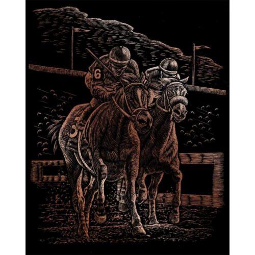 Kratzbild  Kratzbilder Pferderennen Pferde  Kupfer Neu OVP 20 cm x 25 cm