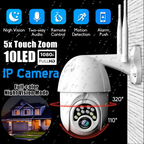 5X Zoom Pan Tilt 1080P FHD Security IP IR Camera Outdoor Waterproof Night Vision