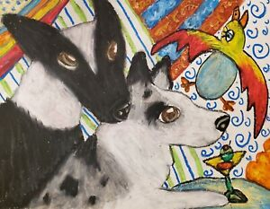 CARDIGAN WELSH CORGI Cuckoo Martini Original 8.5 x 11 Painting Artist KSams Art