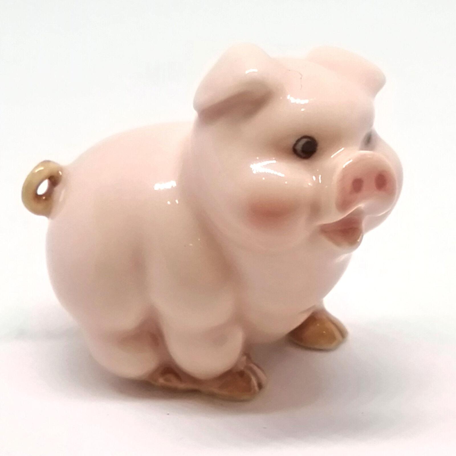 Handmade Miniatures Collectible Ceramic Pink Pig Farm FIGURINE Cute Animals