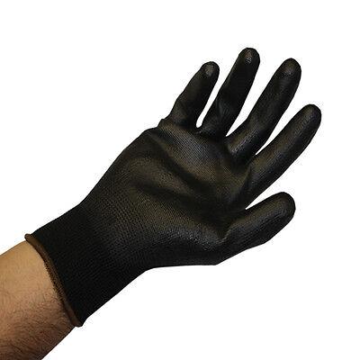 Size Large 24 gloves 12 pairs Black Polyurethane Nylon PU Palm Coated Gloves