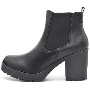 Senora-chelsea-botas-de-plataforma-zapatos-botines-perfil-suela-con-cierre-de-cremallera