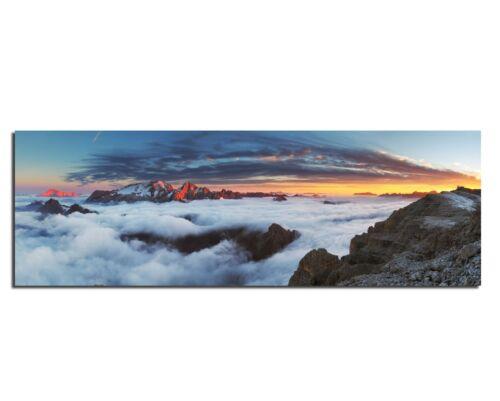 LeinwandBild Bild Wandbild Natur Wolken Landschaft Berg Himmel Horizont Sonne