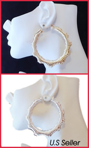 2.75 Inch Gold Silver Bamboo Hoop Earrings Door Knockers Big Hoop Earrings
