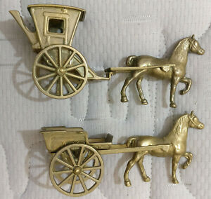 VINTAGE-BRASS-CAST-HORSE-AND-HACKNEY-CARRIAGE-Pair-GORGEOUS