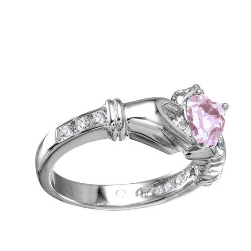 Heart Irish Claddagh Birthstone Round Simulated Diamond Sterling Silver Ring