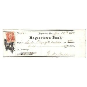 1870-HAGERSTOWN-MD-BANK-CHECK-9-50-W-DOG-VIGNETTE-AA796THX