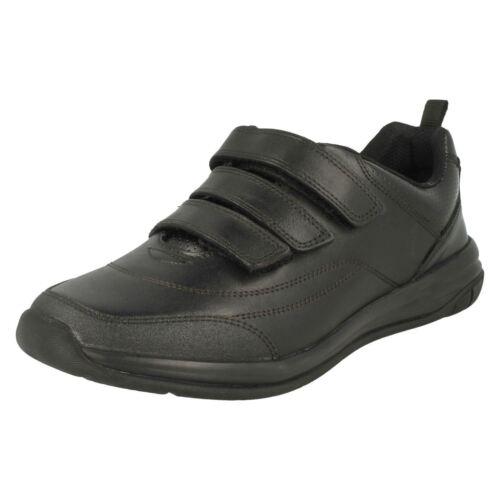De Colegio Tiras Clarks Niños Zapatos Cuero Hula Negro Emoción Tres dzx78xYT