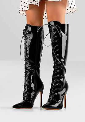 Onlymaker Women/'s Pointy Toe Lace Up Knee High Stiletto Heel Leopard Print Boots