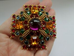 Joan-Rivers-Multi-Coloured-Glass-Cross-Vintage-Gold-Tone-Statement-Brooch-Pin