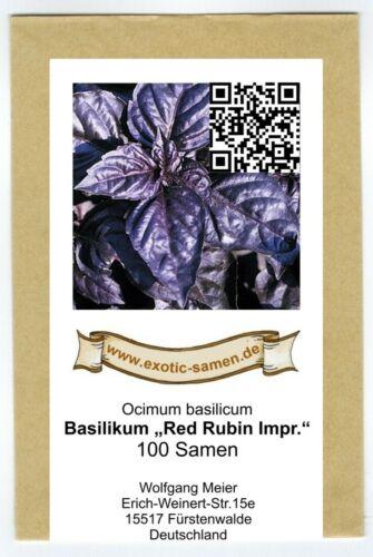 sehr aromatisch Basilikum Red Rubin improved 100 Samen rot//blau